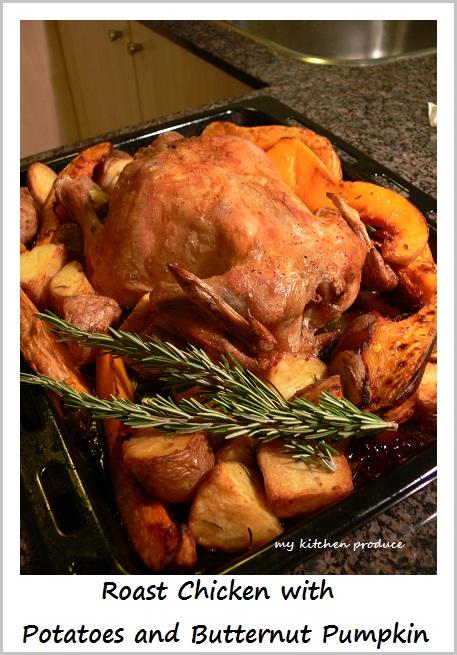Roast Chicken with Potatoes and Butternut Pumpkin