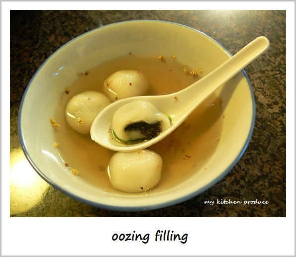 Black Sesame Dumplings - oozing filling
