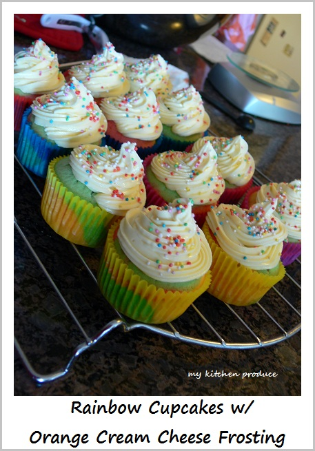 Rainbow Cupcakes with Orange Cream Cheese Frosting