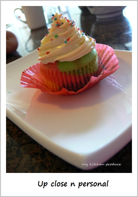 Rainbow Cupcakes with Orange Cream Cheese Frosting_Up close n personal